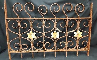 Architectural Salvage Wrought Iron Scrolls & Flowers Window Grate Fence Panel