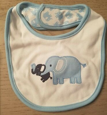 Gymboree BRAND NEW BABY Blue Elephants reversible Bib NWT BOYS