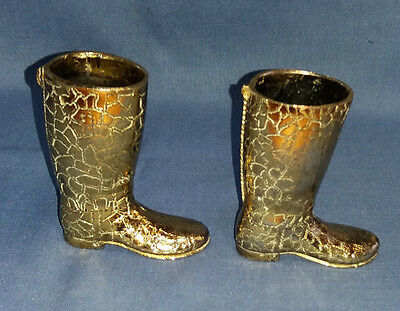 HEAVY ORNAMENTAL ANTIQUE / VINTAGE BRASS  PAIR OF BOOTS / RIDING BOOTS 8.5cmTall