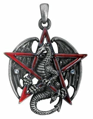 Gothic Red Pentagram Star Dragon Pendant Necklace Jewelry Accessory Dragons