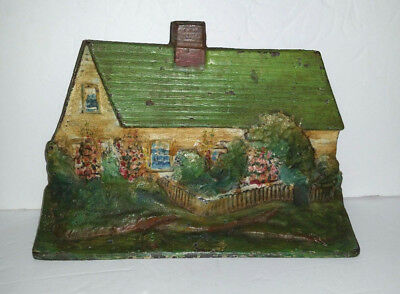 ANTIQUE CAST IRON CAPE COD COTTAGE DOORSTOP Old Paint Eastern Specialty Mfg Co