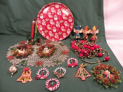 20 Piece Vintage Plastic Christmas Lot Misc Metal Tray Wreaths Ornaments Flocked