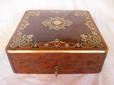 Antique French Inlaid Wood,brass,mother Of Pearl Box,napoleon Iii Period.