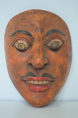 HAND CARVED WOOD BALINESE PLAY / DANCE MASK Male Vintage Wooden  Indonesian
