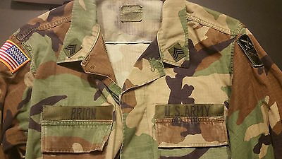 US Army BDU Top Woodland Camo / Patches/ 167th Sustainment Command. Rank E5