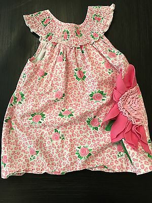 Mud Pie Baby Girls Smocked Pink Rose Floral Embroidered Dress 12 To 18 M