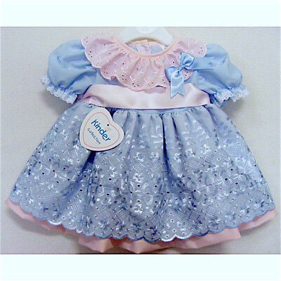 Stunning Baby Girls Spanish Style Blue/Pink Scalloped Broderie Anglaise Dress