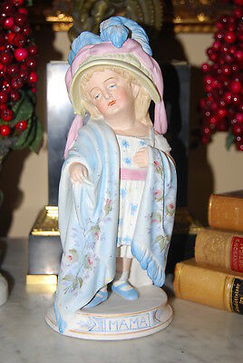Wonderful Mama Girl Bisque Hand Painted Pastels Victorian Old Porcelain Figurine