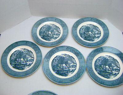 """Set of 5 Currier and Ives Dinner Plates The Old Grist Mill Royal China 10"""" VGC"""