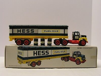 1976 Hess  Tractor Trailer Box Truck With 3 Labeled Oil Barrels NIB