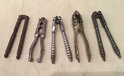 Collection Of 5 Vintage steel and brass Nut Crackers