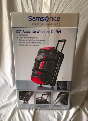 73c32a656 Samsonite Luggage Rolling Duffel Bag Wheeled Carry On Red Black 22 Inch  Andante