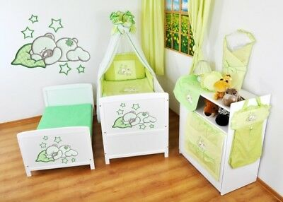 NEW WHITE 2 in1 COT-BED 120 x 60 WITH A 3-PIECE BEDDING no 17 n