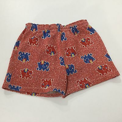 VINTAGE 60s / 70s Carters Summer Shorts Red Blue Elephant Toddler Size 18 Mos.