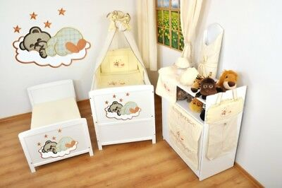NEW WHITE 2 in1 COT-BED 120 x 60 WITH A 3-PIECE BEDDING no 11 n