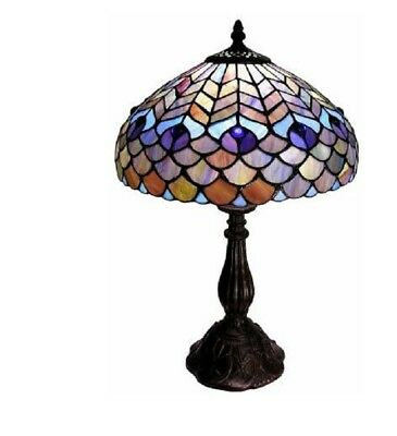 Tiffany-style Peacock Table Lamp Handcrafted 18 Inches Tall Home Decor Lamps