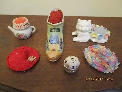 Vintage Pin Cushions Lot Great Lakes Expo Shoe, Teacup, Cat, Crochet Hats, Ring