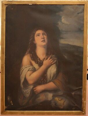 Large Antique 19th Century Mary Magdalene Oil On Canvas Painting TITIAN