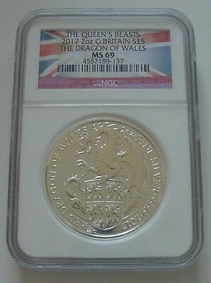 2017 Britain The Queen's Beasts Dragon Flag NGC MS69 2 Oz Silver 5 Pounds Coin