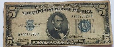 1934 Circulated Five Dollar ($5) Silver Certificate Bill