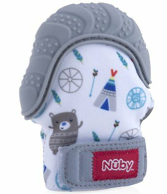 Nuby Soothing Baby Teething Toy Mitten Chewing Glove Gum Pain w/ Hygienic Bag