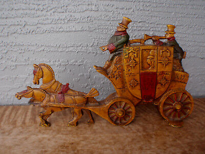 Antique Hubley Cast Iron Two-Sided English Horse & Carriage Doorstop