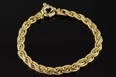 14K Textured Woven Hollow Link Fancy Spring Clasp Bracelet Yellow Gold