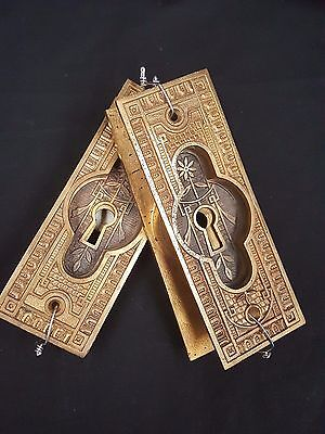 Eastlake Brass Ornate Pocket Door Hardware Set of 4