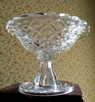 EAPG Diamond Thumbprint Flint Compote with Provenance