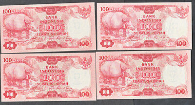 Nine Uncirculated Bank Indonesia 100 Rupiah Notes  #116  1977