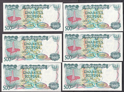 Eight Uncirculated Bank Indonesia 500 Rupiah Notes  #121  1982