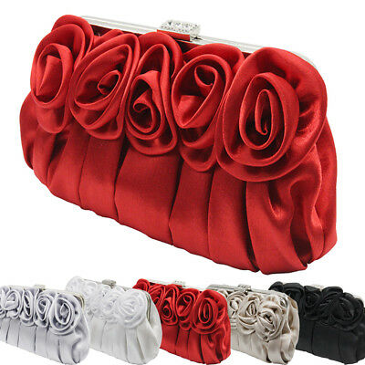 Womens Satin Diamante Clutch Bag Rose Flower Evening Bridal Bag Wedding Handbag