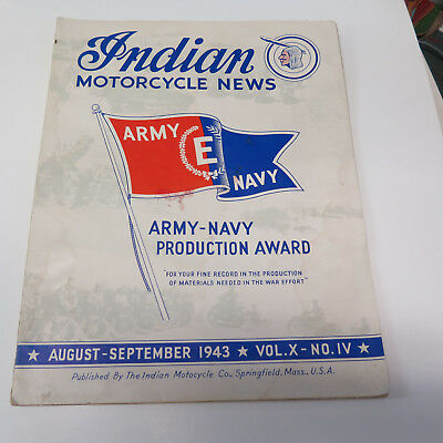 JP) Nice Vintage August-September 1943 Indian Motorcycle News Magazine Army Navy