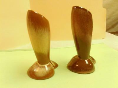 Pair of Vtg FRANKOMA BULLET BUD VASES No. 32 Brown and Cream Art Pottery