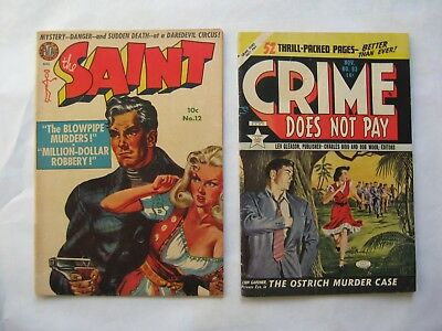 Golden Age lot of 2 Crime Does Not Pay 93 The Saint 12 10 cent cover