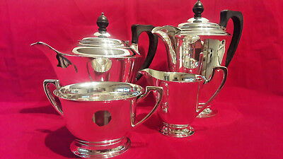 Vintage Silver Plated TEA SET by Charles Hawksworth, Sheffield 4 Piece, Tea Pot