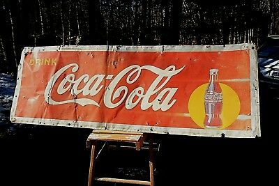 Vintage 1940s COKE Coca Cola yellow circle large embossed metal sign pepsi gas