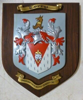 Terry Coat of Arms Shield Family Crest Wall Plaque    Perseveranti Dabitor