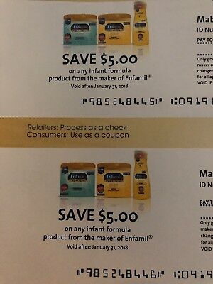 4 x Enfamil Checks - Coupons - Worth $20 in Formula - Expire 1/31/18 and 3/31/18