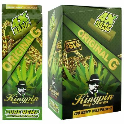 100x Kingpin Hemp Wraps (25x 4 Packs) Original & Sealed - Free Express Ship