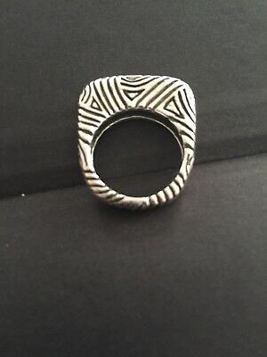 Dian Malouf Sterling Swirl Design Stack Ring Sz 6