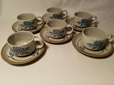Midwinter Stoneware Blue Flower Set of 6 Cups & Saucers England