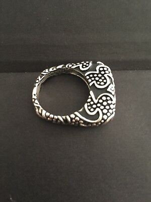 Dian Malouf Sterling Swirl Design and Granulation Stack Ring Sz  7