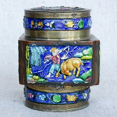 Antique Chinese Enamel On Brass Tea Caddy Canister Trinket Box Longevity Symbol
