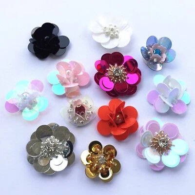 1Pc 3D Sequin Flower-Shape Applique Beaded Rhinestone Handmade DIY Sewing Decor