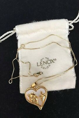 "Lenox Pooh & Piglet Pendant Heart Necklace NEW In pouch ""Best Friends"" V'day"
