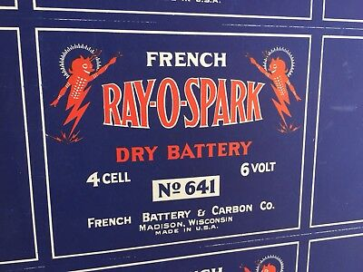 Early 1900'S French Ray-O-Spark Dry Battery 12 Sign Uncut Sheet 43.5 X 24.5 Rare