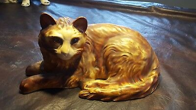 "15"" long 7"" tall Vintage Large Ceramic Cat statue chalkware"
