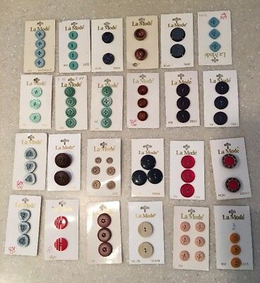Vintage? Buttons Lot Of 24 Packs La Mode Assorted New Black Navy Green Brown