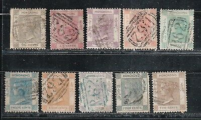 1863 British colony in China stamps, Hong Kong QV 2c to 96c Wmk CC used